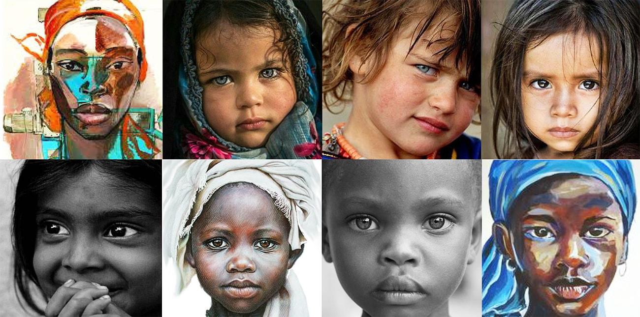 Visages d'enfants du monde entier