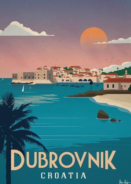 affiche contemporaine Dubrovenik - Artiste Alex Asfour