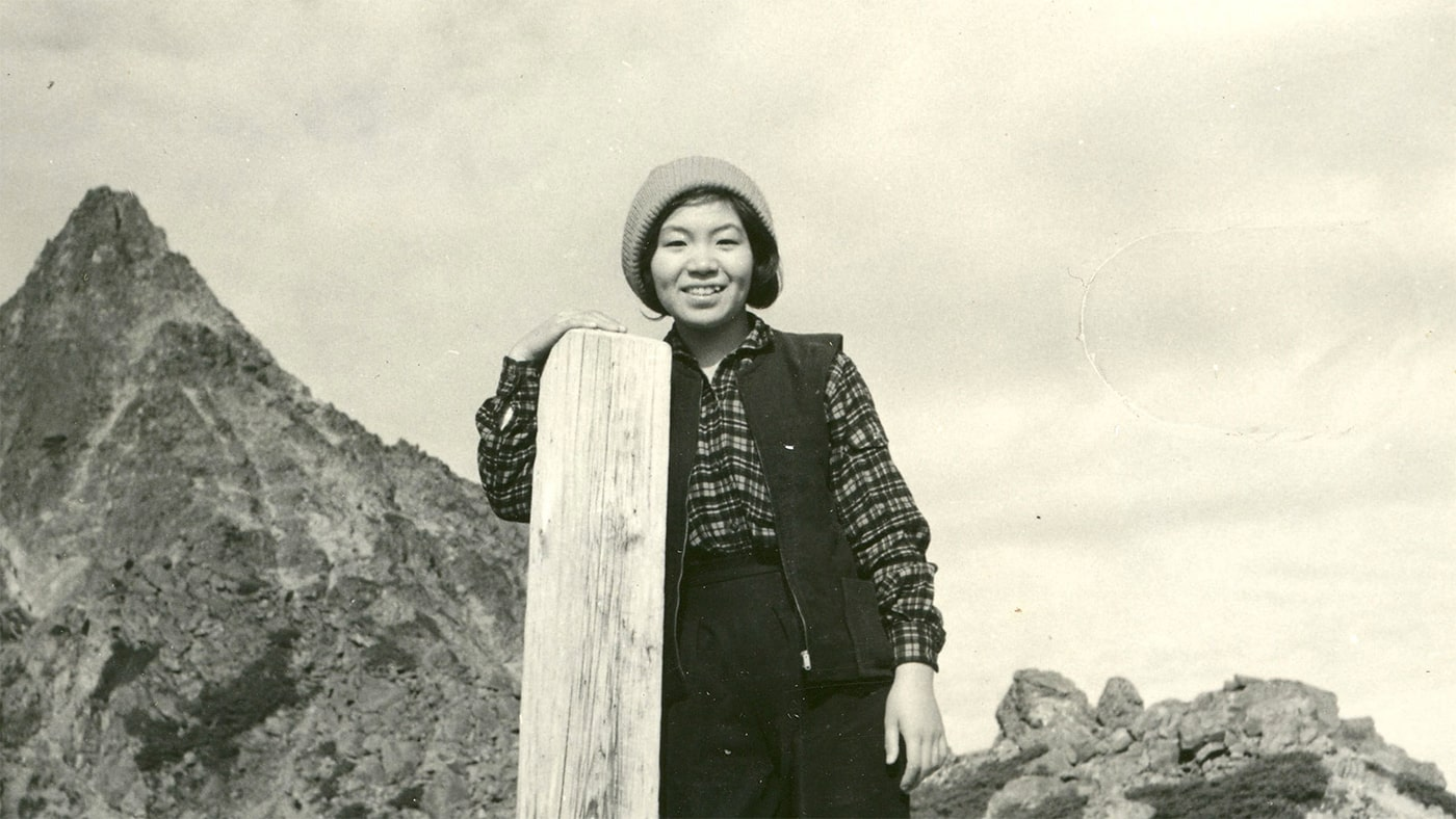 Junko Tabei stands in front of Mount Yari in Japan's Northern Alps, around 1961
