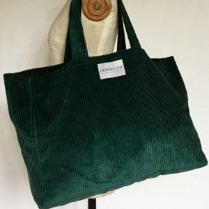 sac en velours vert sauvage